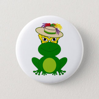 Frog in a hat and mask: Mardi Gras tees & more 2 Inch Round Button