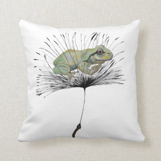 Frog in seed throw pillow