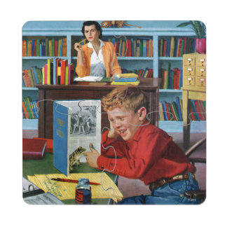 Frog in the Library Puzzle Coaster