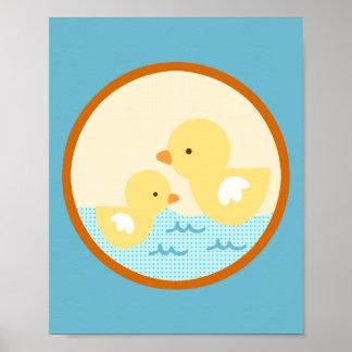 Frog in the Pond Duckies Nursery Art Poster
