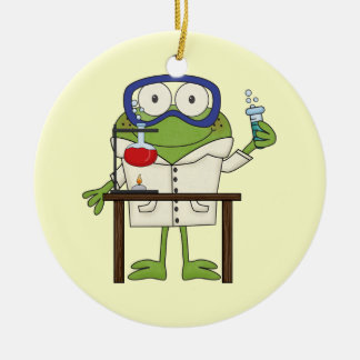 Frog in the Science Lab Round Ceramic Ornament