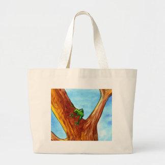 Frog in the tree jumbo tote bag