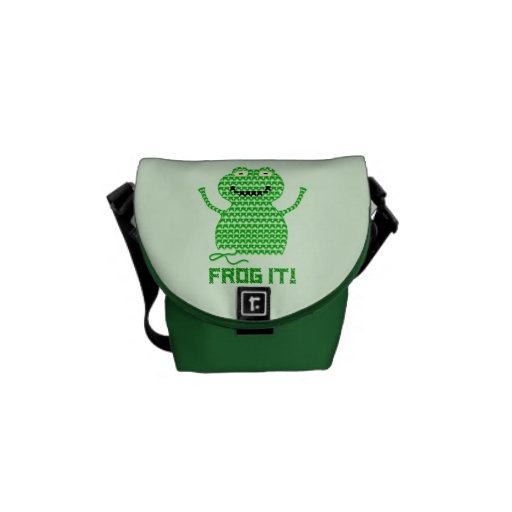 Frog It! Vector Crochet Frog (Green Background) Messenger Bags