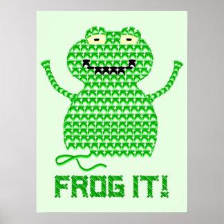 Frog It! Vector Crochet Frog (Green Background) Poster