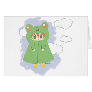 Frog Kawaii Rainy Day Frog Card
