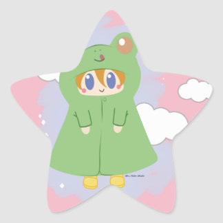 Frog Kawaii Rainy Day Frog Star Sticker