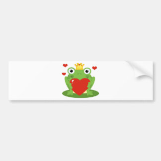 Frog King with Heart Bumper Sticker