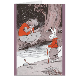 Frog Meets Backpacking Bunny in Woods Card