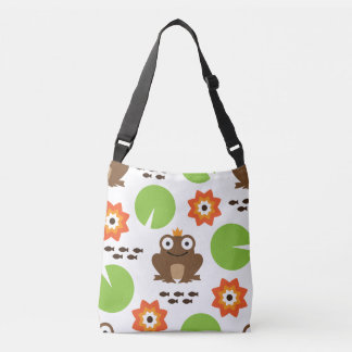 Frog & Nenuphar Seamless Pattern Crossbody Bag