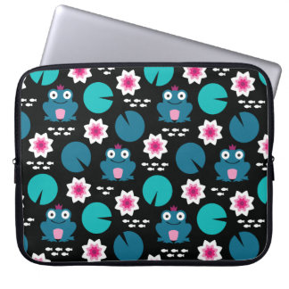 Frog & Nenuphar Seamless Pattern Laptop Sleeve