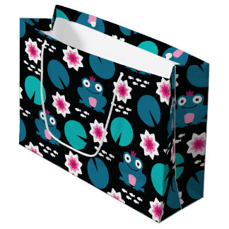 Frog & Nenuphar Seamless Pattern Large Gift Bag
