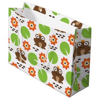 Frog & Nenuphar Seamless Pattern Large Gift Bag