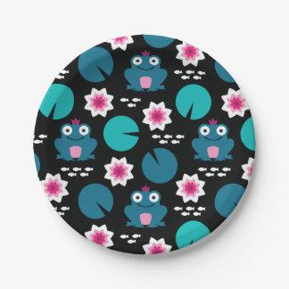 Frog & Nenuphar Seamless Pattern Paper Plate