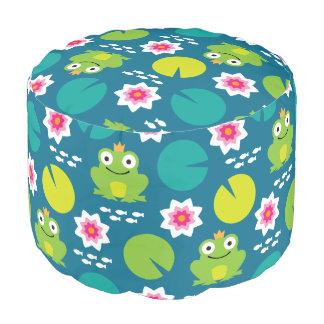 Frog & Nenuphar Seamless Pattern Pouf