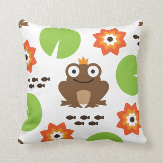 Frog & Nenuphar Seamless Pattern Throw Pillow
