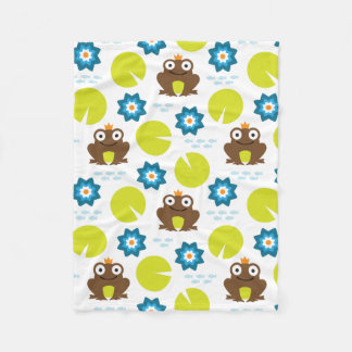Frog & Nenuphar seamless pattern (ver.3) Fleece Blanket