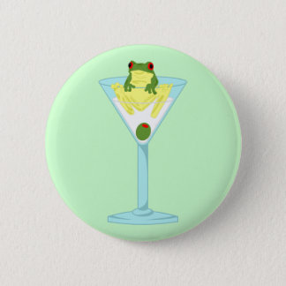 Frog & Olive in Martini Glass 2 Inch Round Button