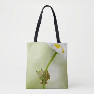 Frog On A Daisy Tote Bag