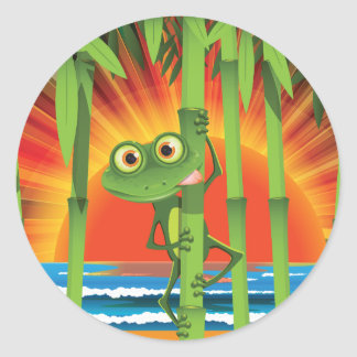Frog On Bamboo Stickers