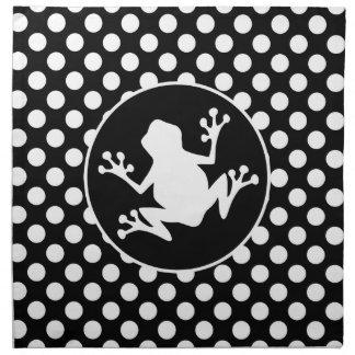 Frog on Black and White Polka Dots Napkin