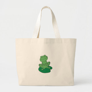 Frog on Lilypad Large Tote Bag