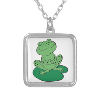 Frog on Lilypad Silver Plated Necklace