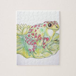 Frog on Lotus leaf Jigsaw Puzzle