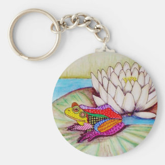 Frog on water lily keychain