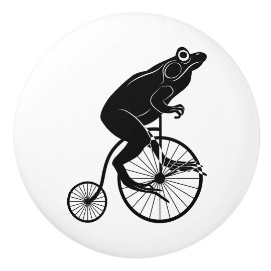 Frog or Toad Riding Vintage Bike Ceramic Knob