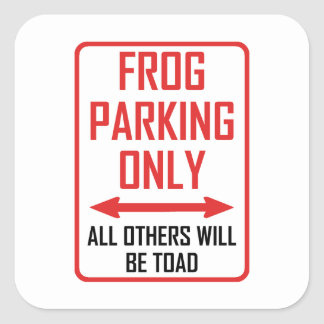 Frog Parking All Others Toad Square Sticker