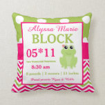 Frog Pink Green Baby Announcement Pillow