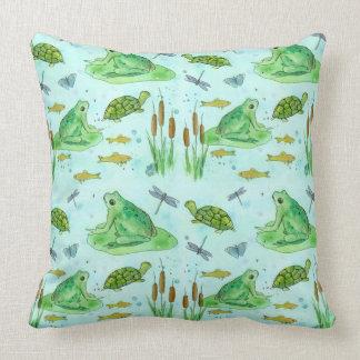 Frog Pond Goldfish Turtles Dragonfly Green Throw Pillow