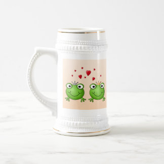 Frog Prince and Frog Princess, with hearts. Beer Stein