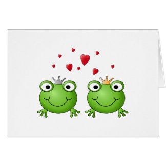 Frog Prince and Frog Princess with hearts Cards