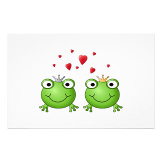 Frog Prince and Frog Princess, with hearts. Personalized Flyer