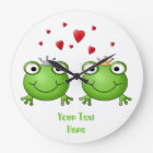 Frog Prince and Frog Princess, with hearts. Large Clock