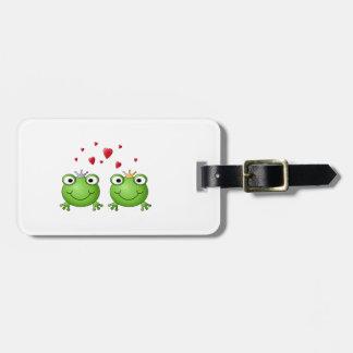 Frog Prince and Frog Princess, with hearts. Luggage Tag
