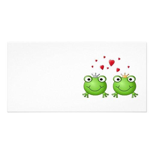 Frog Prince and Frog Princess, with hearts. Custom Photo Card