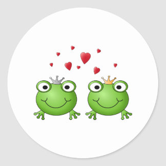 Frog Prince and Frog Princess, with hearts. Round Sticker