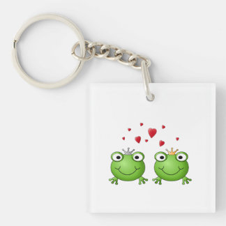 Frog Prince and Frog Princess, with hearts. Single-Sided Square Acrylic Keychain