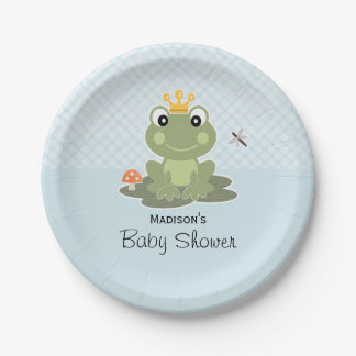 Frog Prince Baby Boy Shower 7 Inch Paper Plate