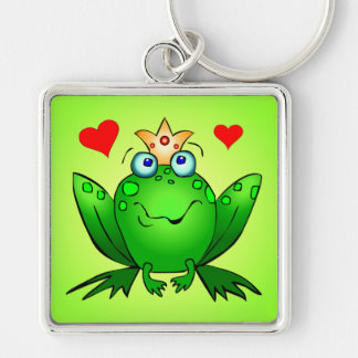 Frog Prince Crown and Hearts Green Silver-Colored Square Keychain