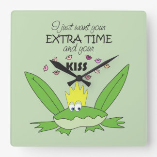 Frog Prince Kiss Funny Cute Cartoon Love Song Chic Square Wall Clock