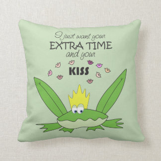 Frog Prince Kiss Funny Cute Cartoon Love Song Chic Throw Pillow