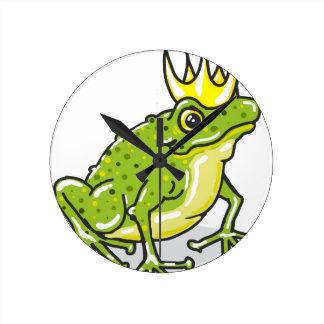 Frog Prince Princess Sketch Round Clock