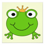 """Frog Prince. Smiling Frog with a Crown. 5.25"""" Square Invitation Card"""