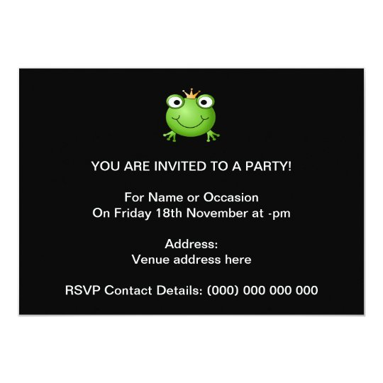 """Frog Prince. Smiling Frog with a Crown. 5"""" X 7"""" Invitation Card"""