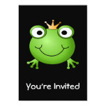 "Frog Prince. Smiling Frog with a Crown. 5"" X 7"" Invitation Card"