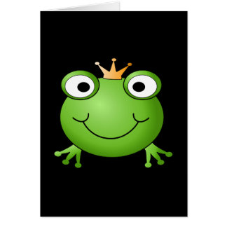 Frog Prince. Smiling Frog with a Crown. Card