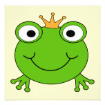 Frog Prince. Smiling Frog with a Crown. Custom Invite